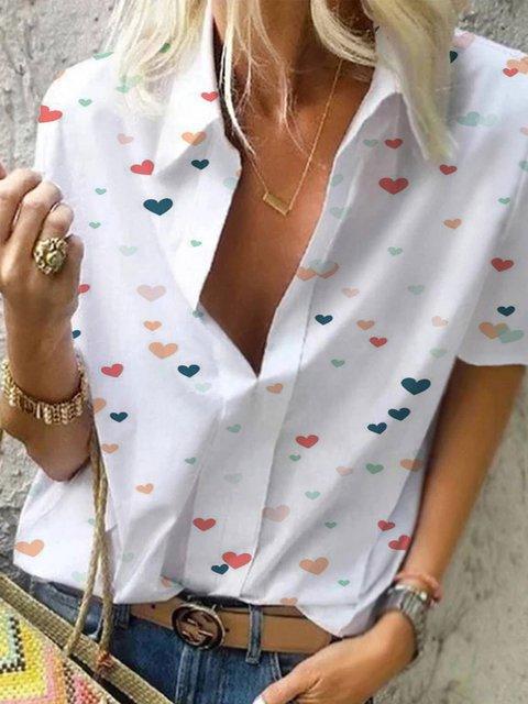 Printed Casual Cotton-Blend Shirt Collar Shirts & Tops