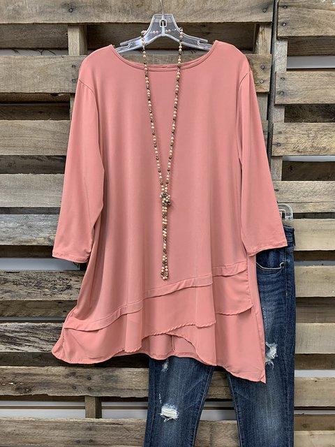 Plain Chiffon Work 3/4 Sleeve Shirt & Top
