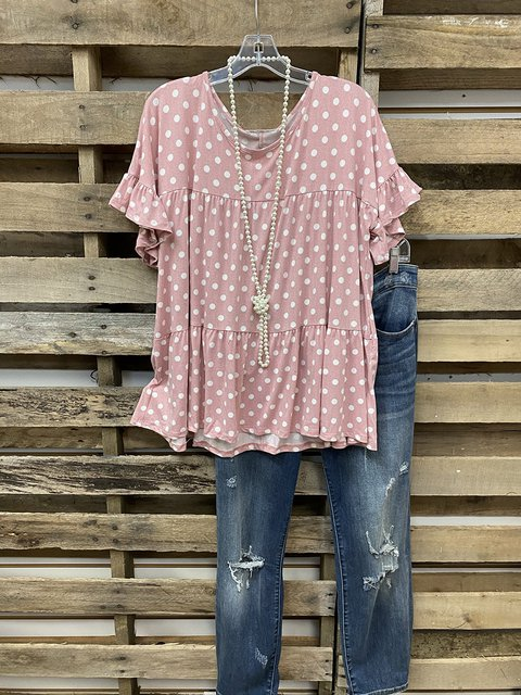 Ruffled Crew Neck A-Line Lady Shirt & Top