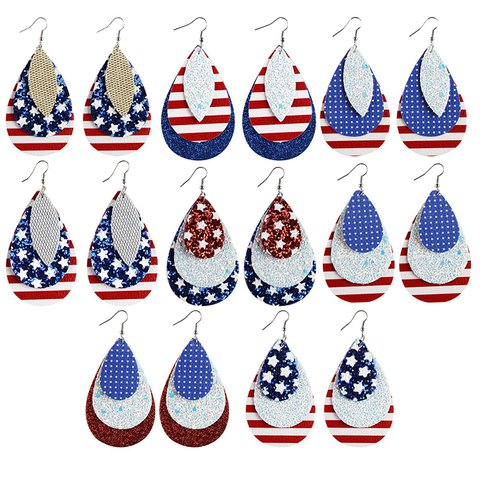 Leather Printed American Flag Independence Day Themed Earrings