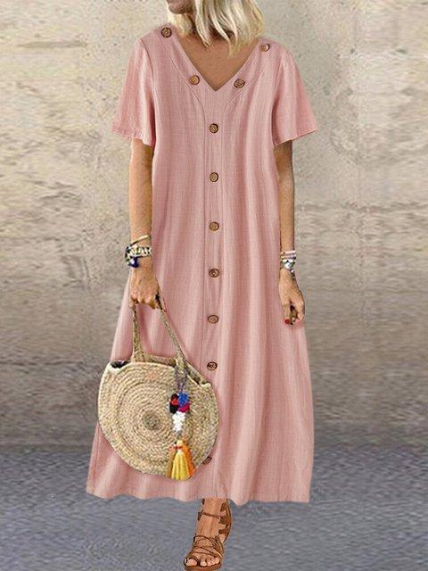 Button V-neck Solid Color Loose Maxi Dress