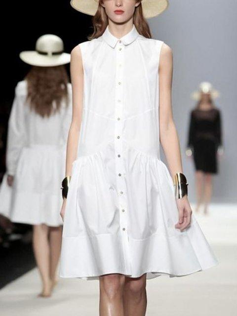 White Plain Shirt Collar Sleeveless Dresses