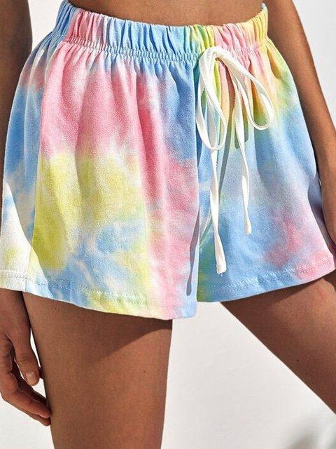 Tie Dye Casual Cotton Blend Shorts