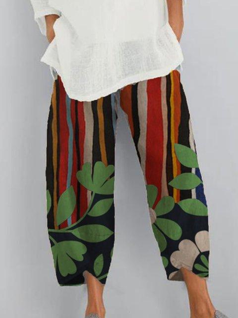 Multicolor Printed Simple Pants