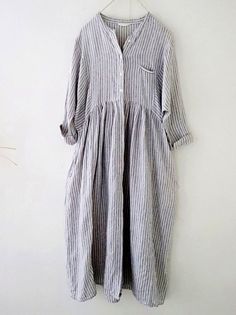 Striped 3/4 sleeve imitation cotton and linen casual straight shirt dress