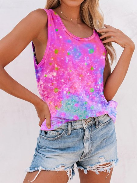 Pink Cotton Crew Neck Short Sleeve Shirts & Top