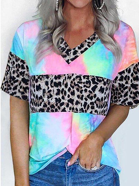 Leopard Short Sleeve V-neck Patchwork Tie Dye T-shirt