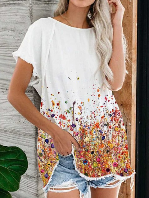 Casual Patchwork Cotton Round Neck Shirts & Tops