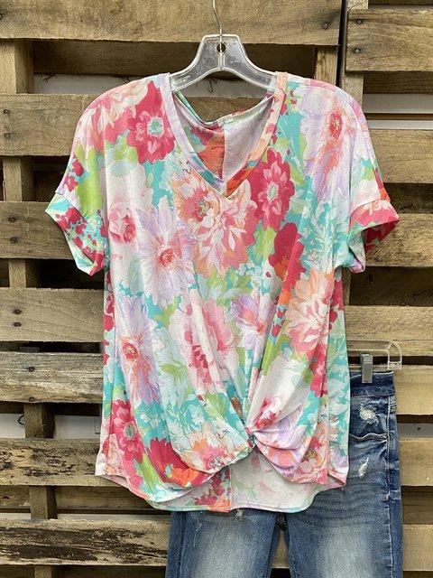 Color V Neck Short Sleeve Cotton-Blend Shirt & Top