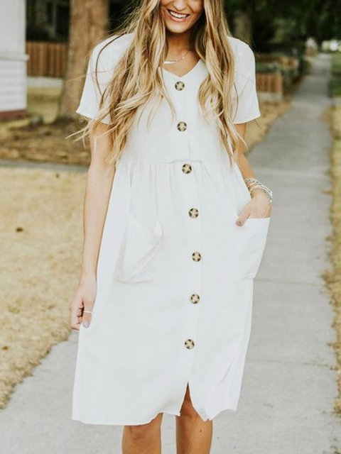 White Short Sleeve Crew Neck Cotton-Blend Dresses