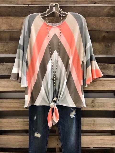 Striped Half Sleeve Cotton Shirts & Tops