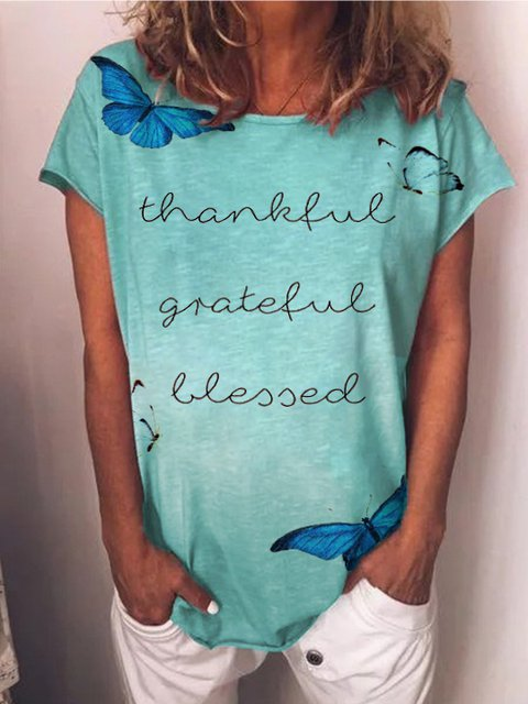 Lake Blue Butterfly T-shirt