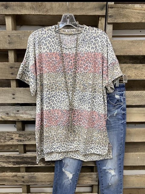 Leopard O-Neck Casual Cotton-Blend Shirts & Tops