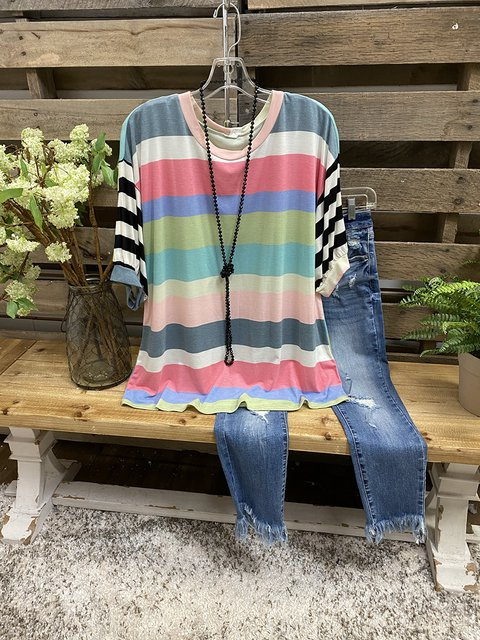 Multicolor Cotton Casual Ombre/tie-Dye Shirt & Top