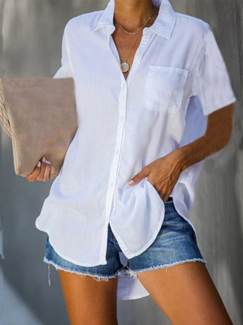 Shirt Collar Short Sleeve Cotton-Blend Shirts & Tops
