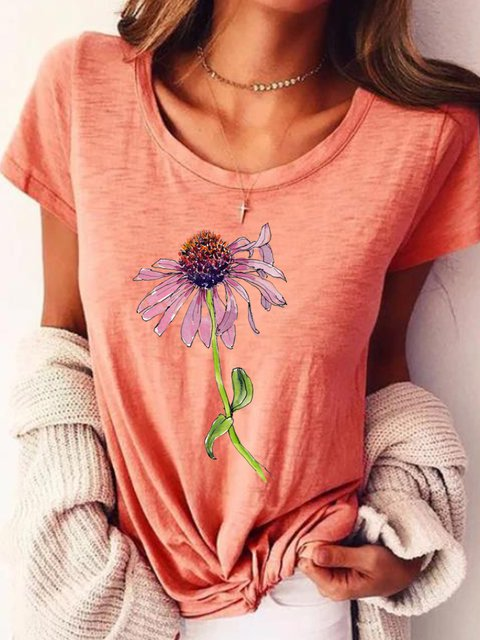 Pink Short Sleeve Round Neck Printed Shirts & Tops