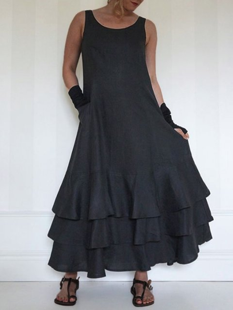 Solid Sleeveless Maxi Dress Tiered Plus Size Dresses