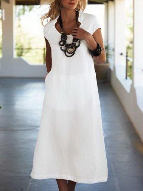 Solid Pocket Midi Dress Summer Plus Size Dresses