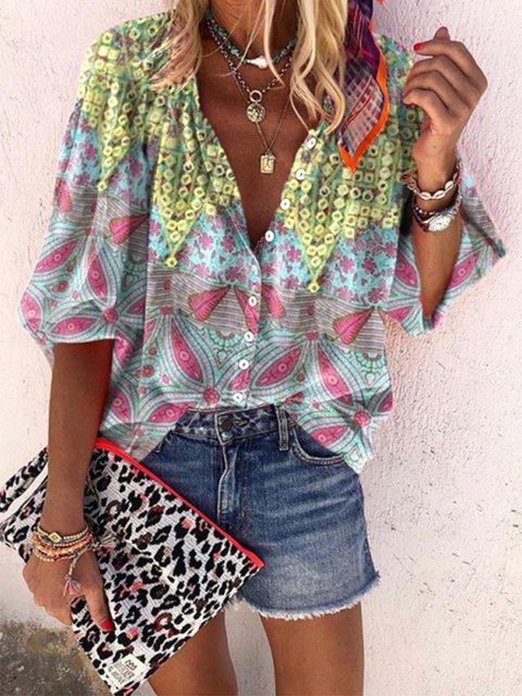 Floral Half Sleeve V Neck Shirts & Tops