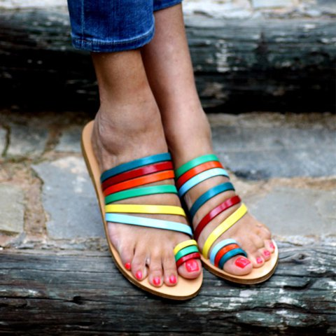 Flower Flat Heel Color Block Summer Sandals