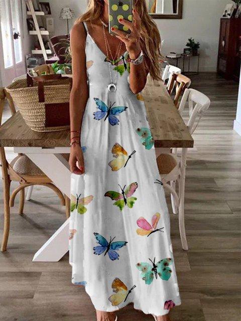 White Printed Sleeveless V Neck Dresses