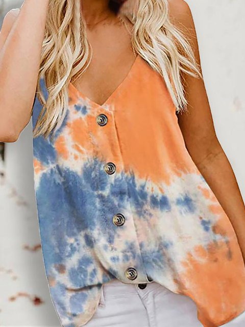 Button Design Tie Dye Print Cami Tops