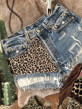 Blue Denim Leopard Vintage Shift Pants