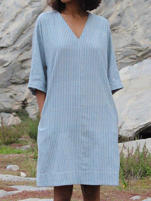 Striped Pockets Mini Dress 3/4 Sleeve Dresses