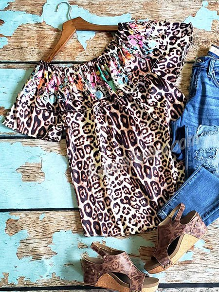 Brown Floral-Print Short Sleeve Cotton Shirts & Tops