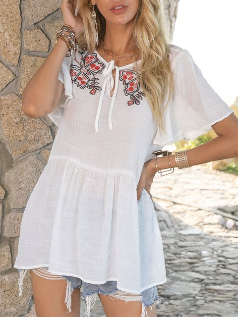 White Short Sleeve Casual Shift Shirts & Tops