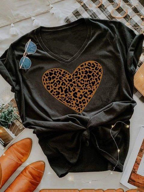 Gray Short Sleeve Leopard Vintage Shirts & Tops
