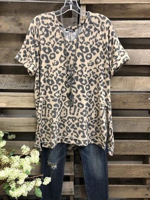 Leopard Short Sleeve Shirts & Tops