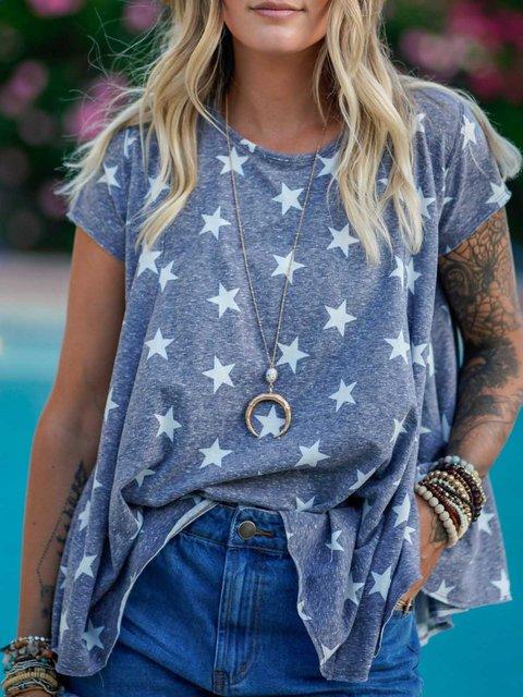 Blue Cotton Short Sleeve Patchwork Round Neck Shirts & Tops