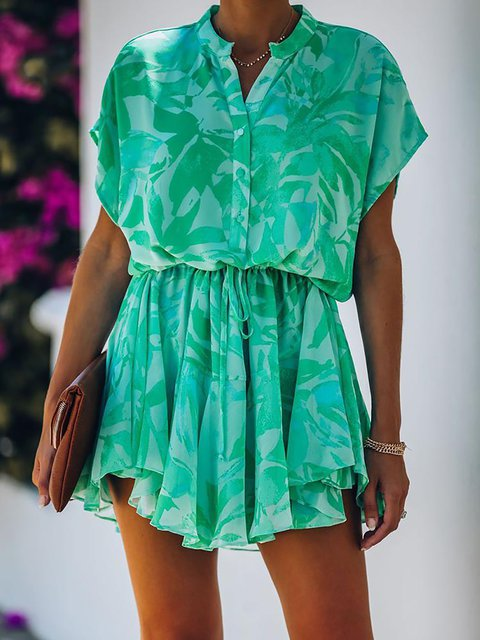 Tropical Print Tie Waist Mini Shirt Dress