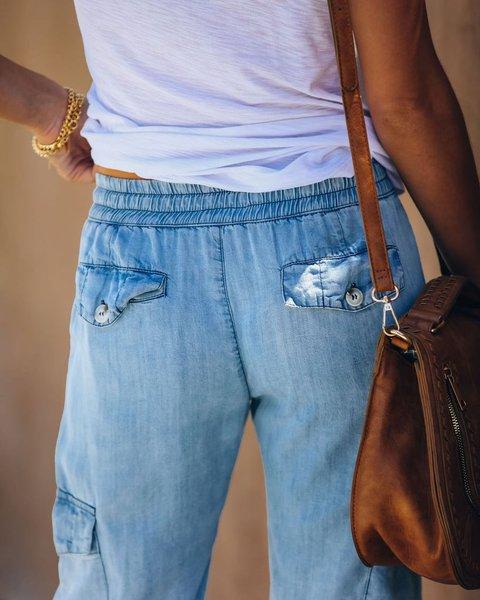 Blue Casual Denim Plain Pants