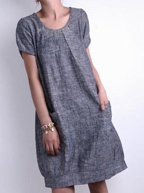 Solid Pockets Mini Dress Summer Plus Size Short Sleeve Dresses