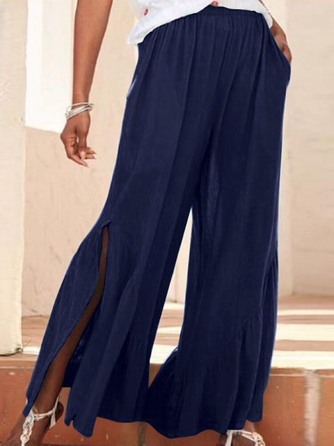 Split Casual Solid Color Elastic Waist Pants