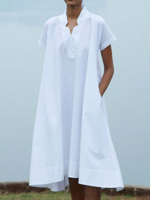 Summer Solid Midi Dress Plus Size Pockets V Neck Dresses