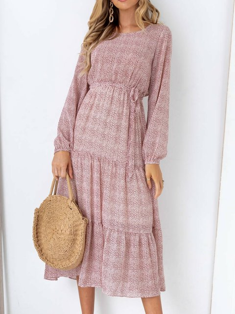 Casual Floral Long Sleeve Dresses