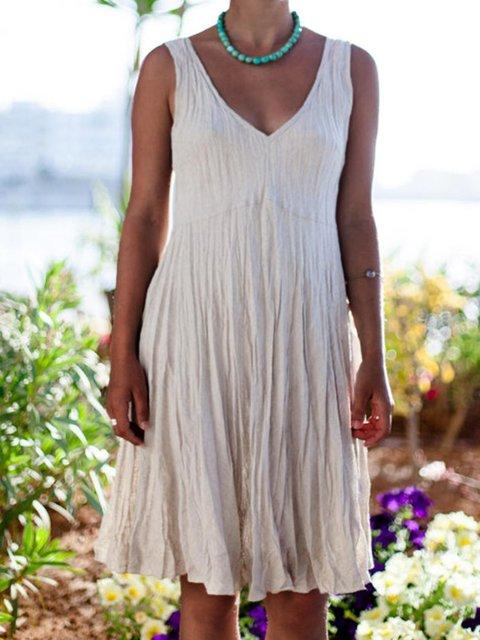 Boho Casual V-neck Linen Summer Dress