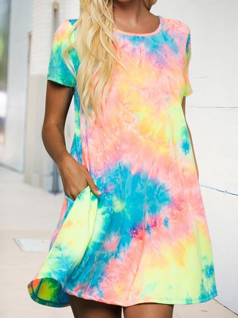 Watercolor Tie Dye Short Sleeve Casual Dress