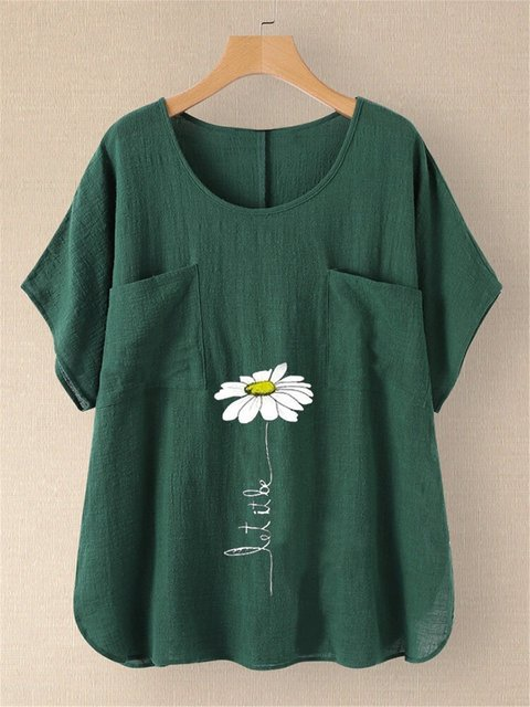 Green Cotton Casual Floral Crew Neck Shirts & Tops