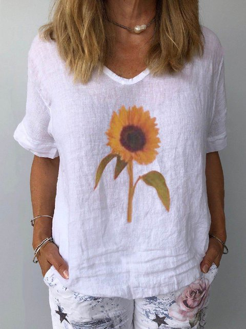 Casual Shift Cotton-Blend Short Sleeve Shirts & Tops