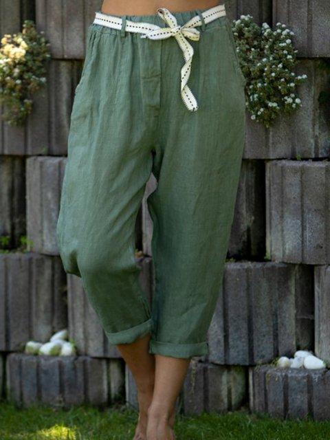Green Plain Linen Casual Pants