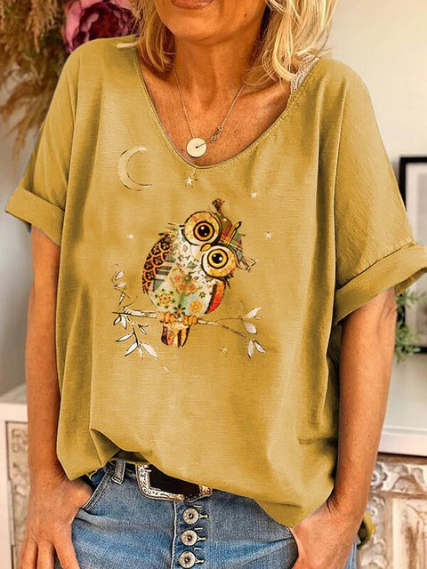 Owl Print V-Neck Short Sleeves Casual Blouses