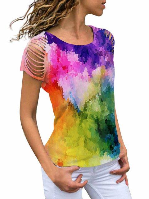 Short Sleeve Color-block Crew Neck Casual Shirts & Tops