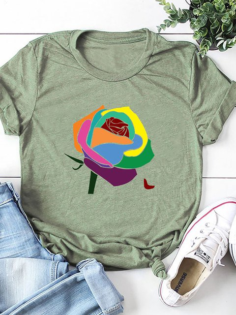 Short Sleeve Crew Neck Printed Cotton-Blend Shirts & Tops