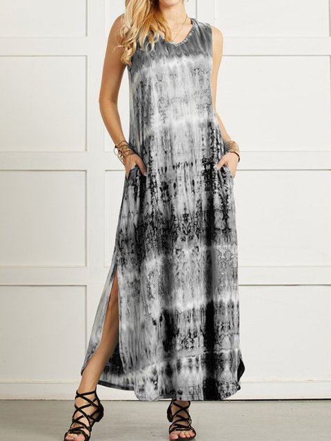 V Neck Casual Ombre/tie-Dye Dresses