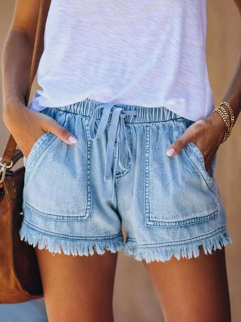 Denim Pockets Casual Shorts