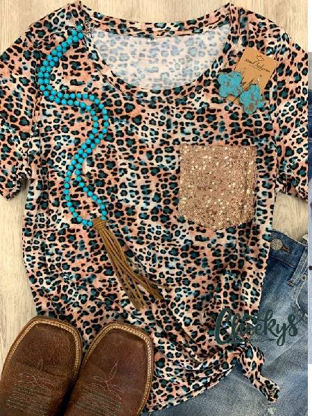 Leopard Print Cotton Short Sleeve Leopard Shirts & Tops